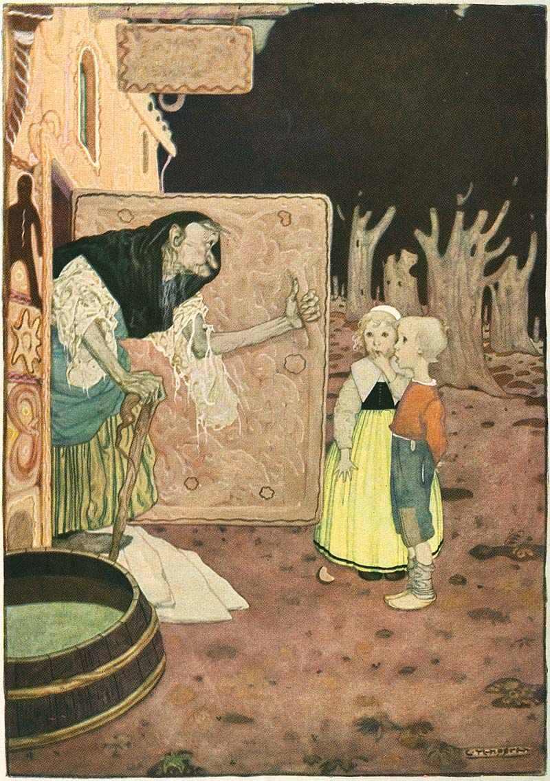 Hansel Grethel At The Gingerbread House Door 1923 Illustrated By Gustaf Tenggren Fairytale Art Fairytale Illustration Illustration