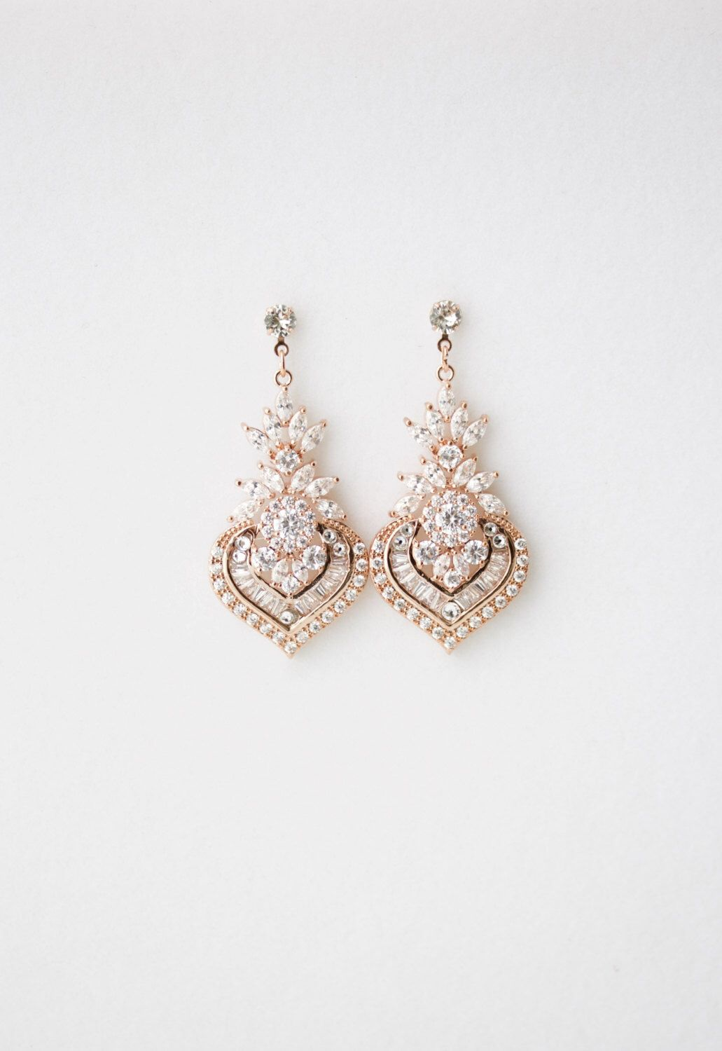 Wedding Earrings Chandelier Bridal Rose Gold Jewelry Crystal Pink Evie