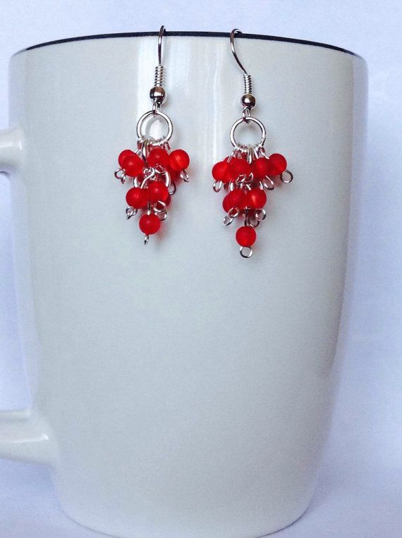 Red Grapevine Beaded Earrings by JamesBrownCreations on Etsy