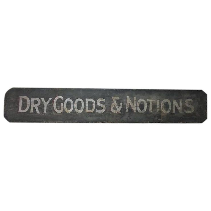Antique Finish Silver Signing Frame: Antique Painted Wooden Sign Dry Goods & Notions