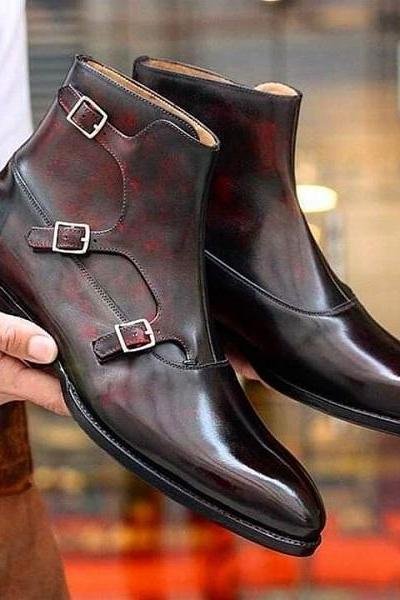 Handmade Men Deep Brown Triple Monk Leather Boots Dress
