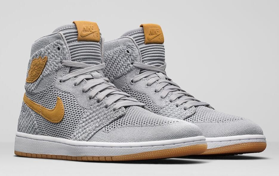 3aaa9bf3d8452 Air Jordan 1 Retro High Flyknit Size Run  Mens Color  Wolf Grey Golden  Harvest-Gum Yellow Style Code  919704-025 Release Date  November 1