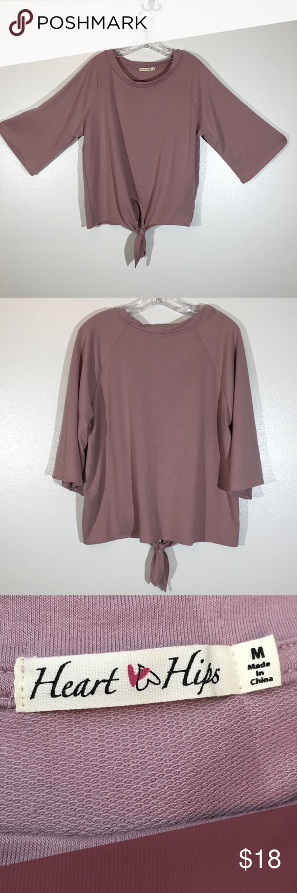 Heart & Hips mauve Oversized knit front top - M