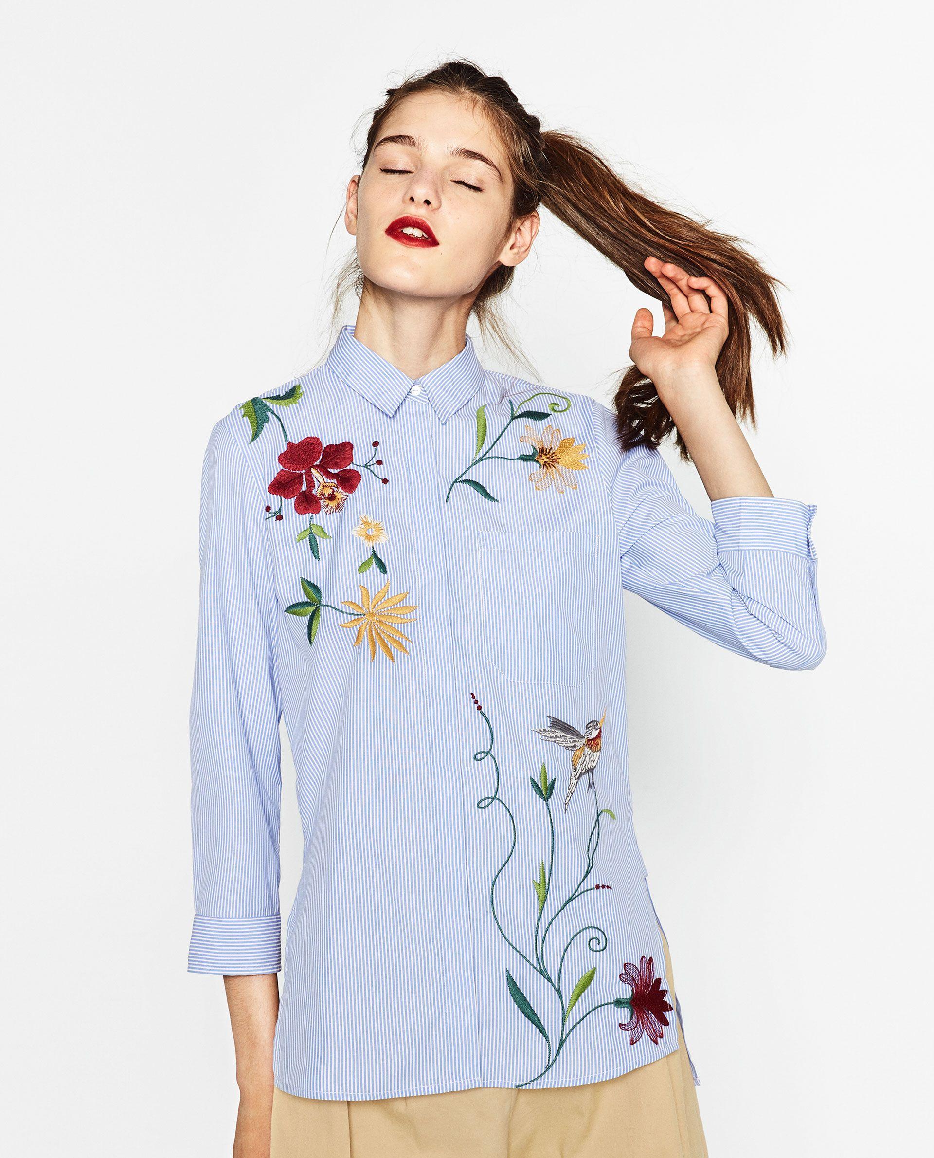 d168bcfe2 EMBROIDERED POPLIN SHIRT | zara. | Blusas, Camisas bordadas y Ropa ...