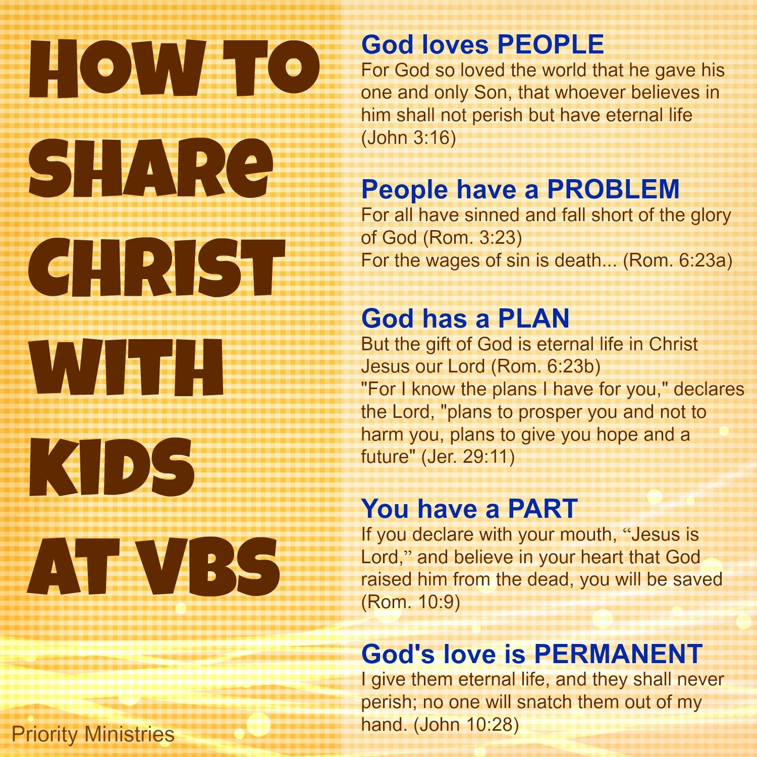 how to share christ with kids at vacation bible this would