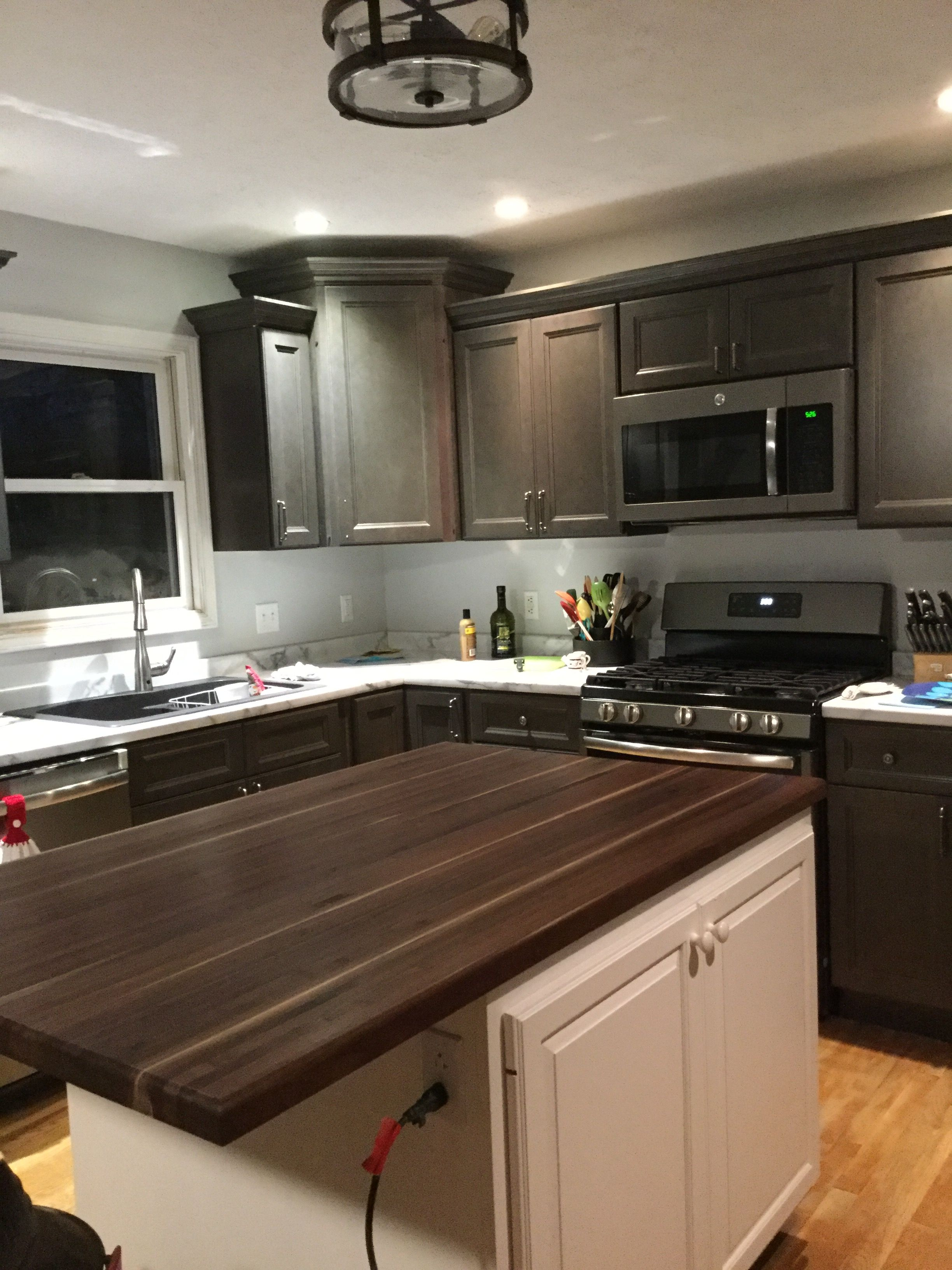 West Point Grey Cabinets Walnut Butcher Block Etched Laminate Countertops Grey Kitchen Cabinets Grey Cabinets Beautiful Kitchens