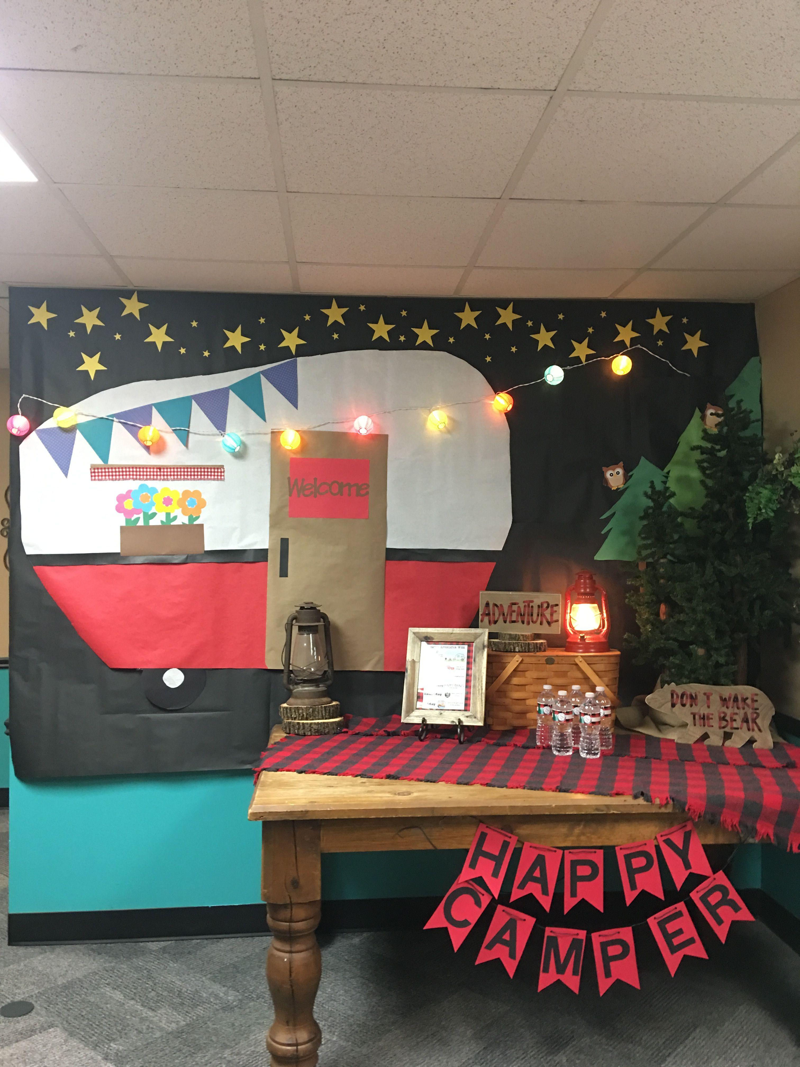 Teacher Appreciation camping theme decorations  Camping bulletin