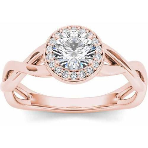 Imperial 1/2 Carat T.W. Diamond Single Halo Criss-Cross Shank 14kt Rose Gold Engagement Ring