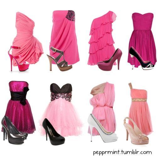 Combinaciones de vestidos y zapatos de noche
