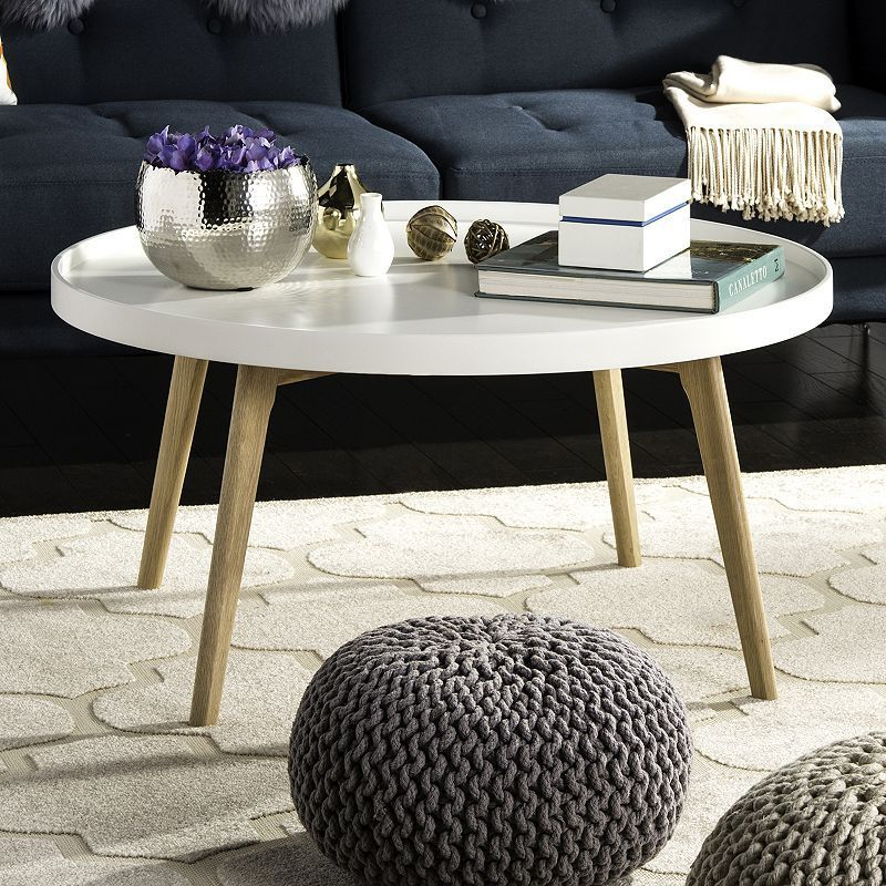 Safavieh Sage Tray Top Round Coffee Table White