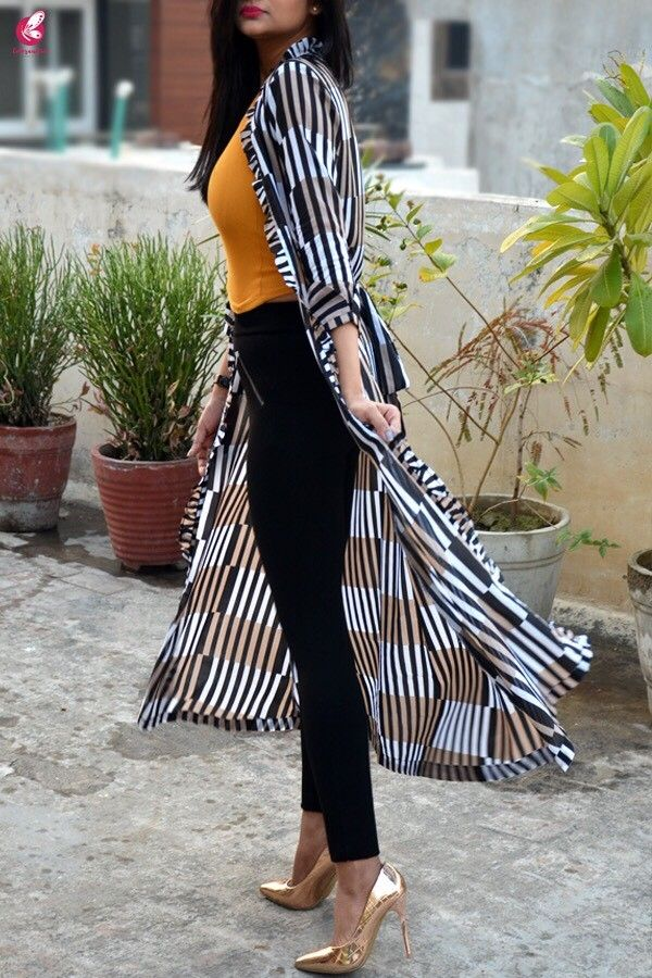 bdf5e251520 Black and white printed summer cool long shrug shrugs online in india  colorauction also rh pinterest