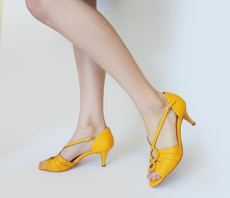 Yellow heels for women, Yellow womens shoe, Yellow heel sandals, Leather  sandals, Sandals with straps, Open toe sandals, Open toe shoes