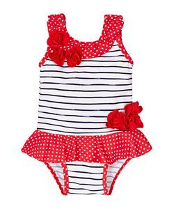 Spotty and Stripy Flower Swimsuit