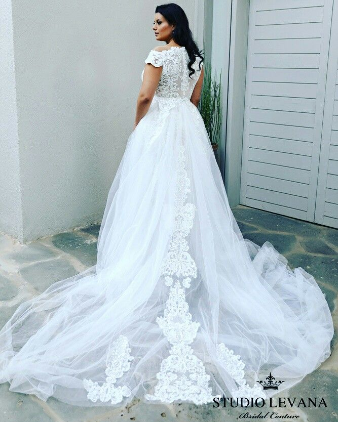 Perfect off shoulder, long tulle train, lace back plus size wedding ...