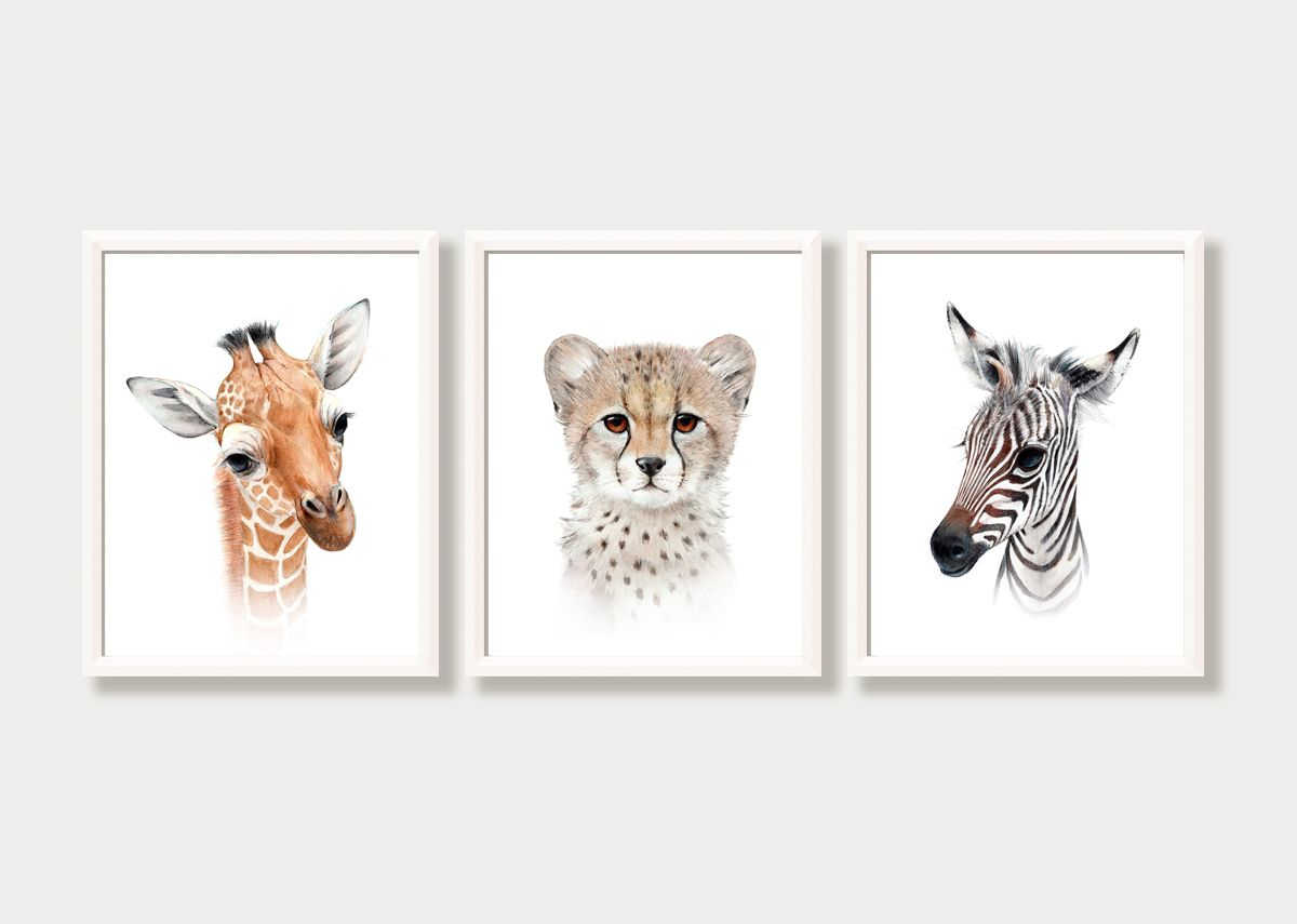 3 Jungle Safari Animal Print Pictures Gift Modern Nursery Room Wall Art Decor