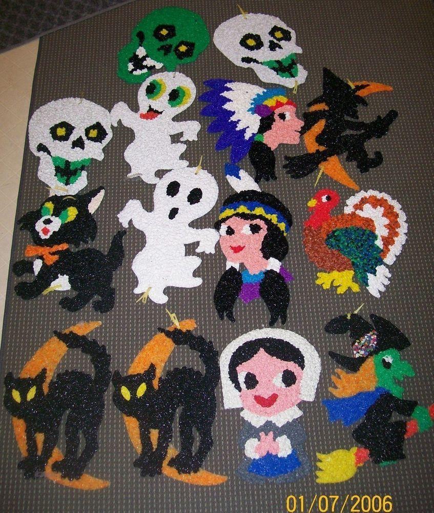 Vintage halloween decorations plastic - Vintage Halloween Melted Plastic Popcorn Wall Decorations Lot Of 14