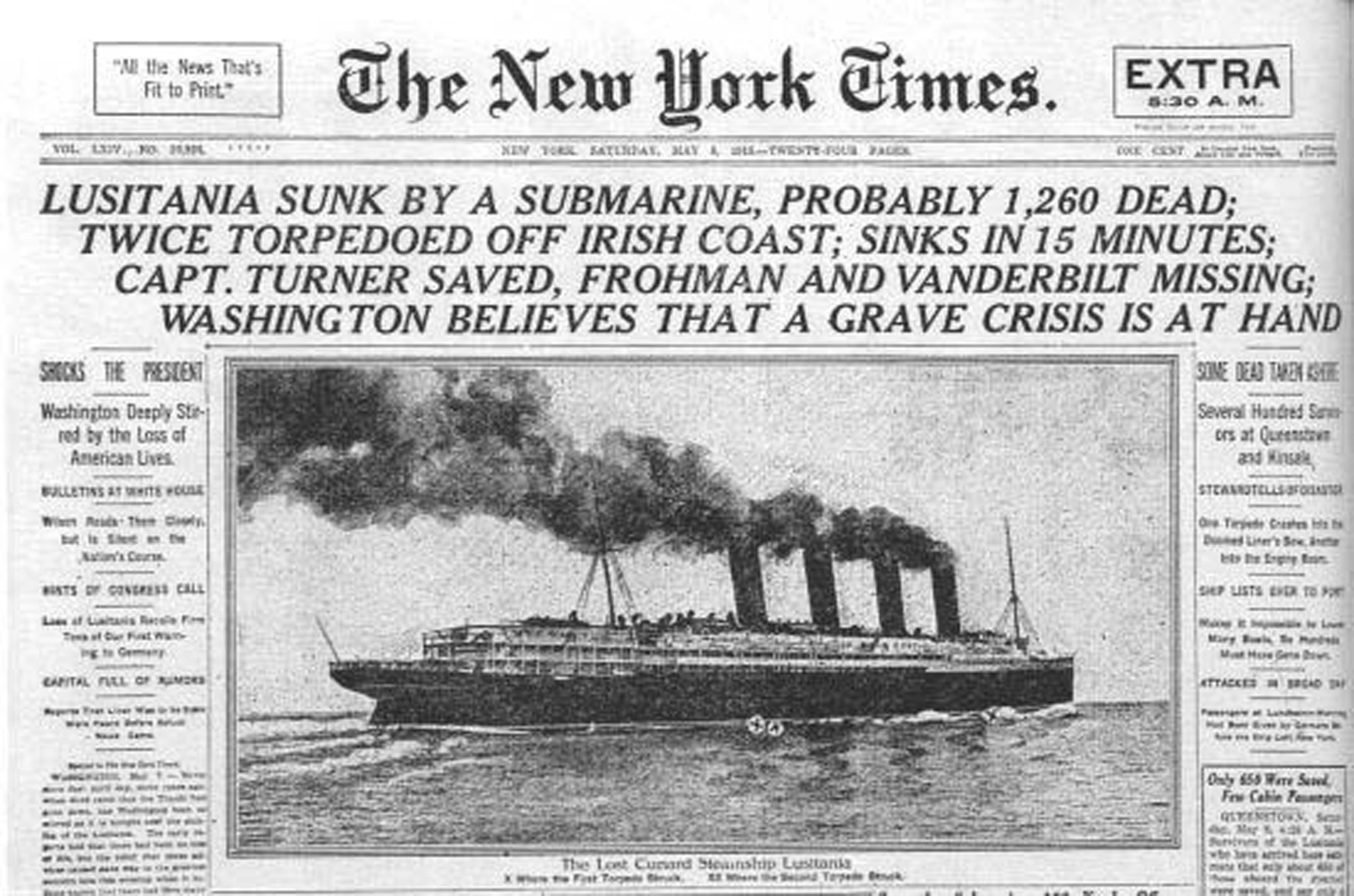 Image result for sinking of the lusitania newspaper article