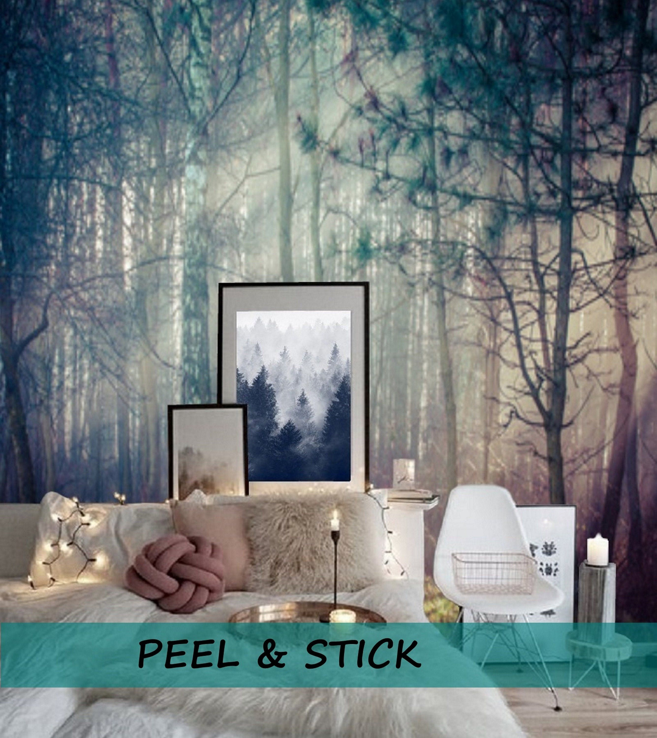 Peel And Stick Wall Paper Boho Misty Forest Wallpaper Wall Mural Removable Wallpaper Peel Stick Mural Pine Tree Wallpaper Nature 103 Forest Wall Mural Forest Wallpaper Wall Murals