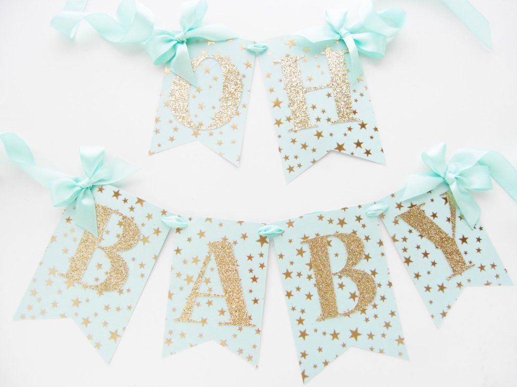 Mint and Gold Baby Shower Banner   Oh Baby Mint and Gold Stars   Twinkle Twinkle Little Star