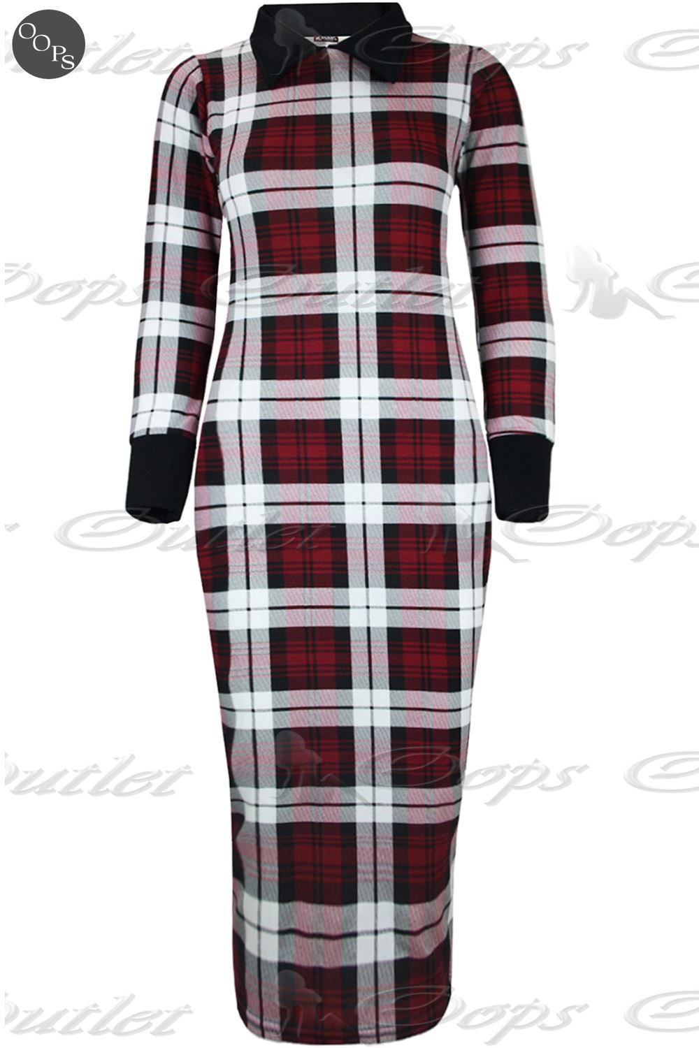 Red Plaid Sash Long Sleeve Midi Dress | Cats, Holiday dresses and