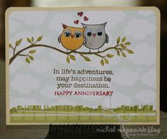 Anniversary card stamping & copics anniversaries cards and owl card