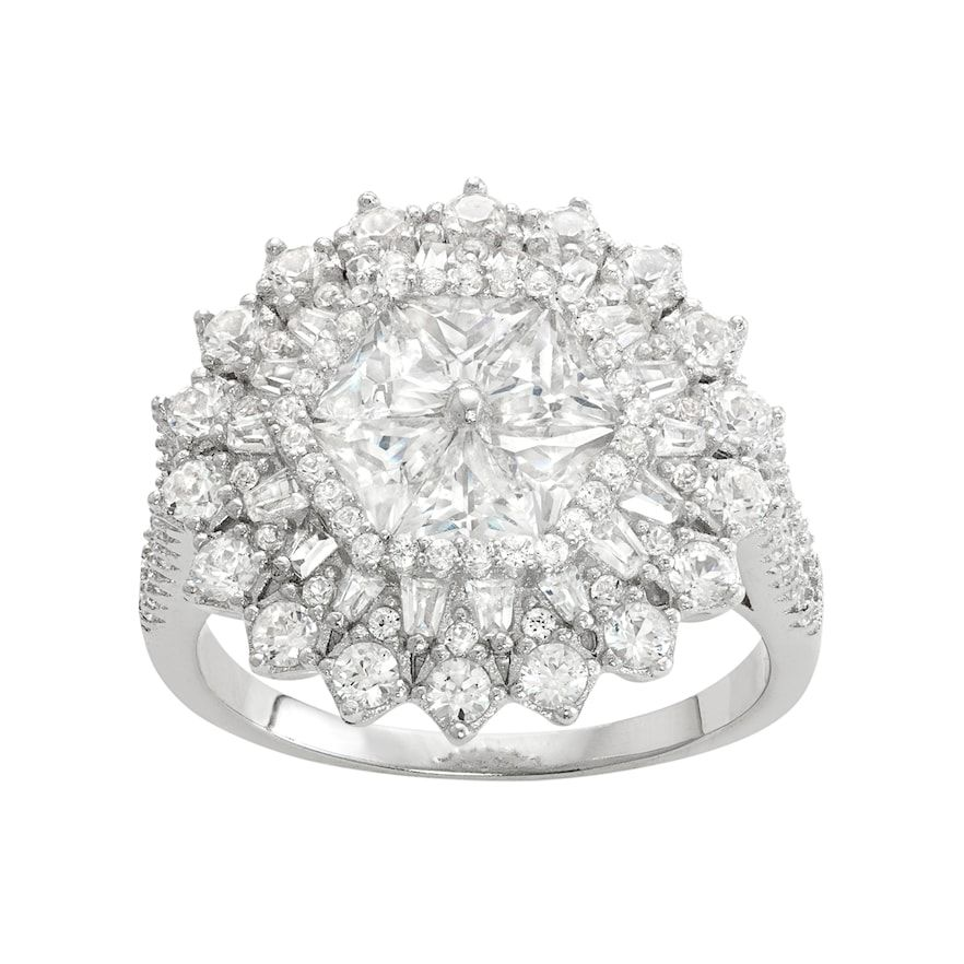 Sterling Silver Lab Created White Sapphire Sunburst Ring Silver Labs White Sapphire Silver