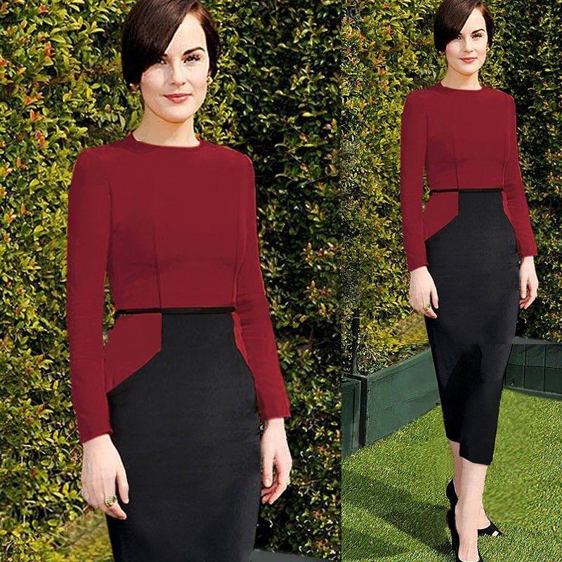 Elegant patchwork women bodycon dress long sleeve winter office dress