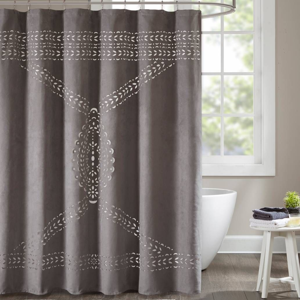 Product Image For Madison Park Lucy 72 Inch Shower Curtain In Grey 1 Out Of