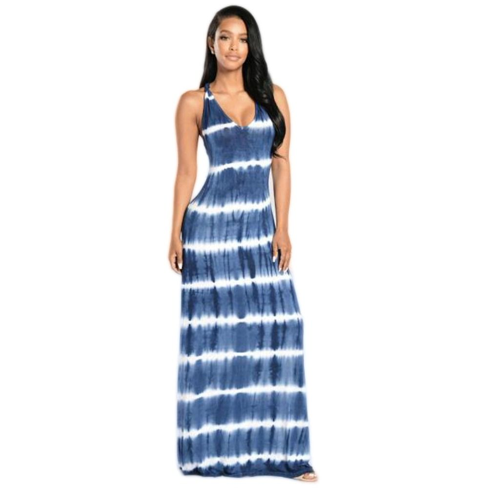 b4d1ca2c5719a Women Summer Casual Beach Dresses ladies Sleeveless Tank Top printing Long  Maxi Dress