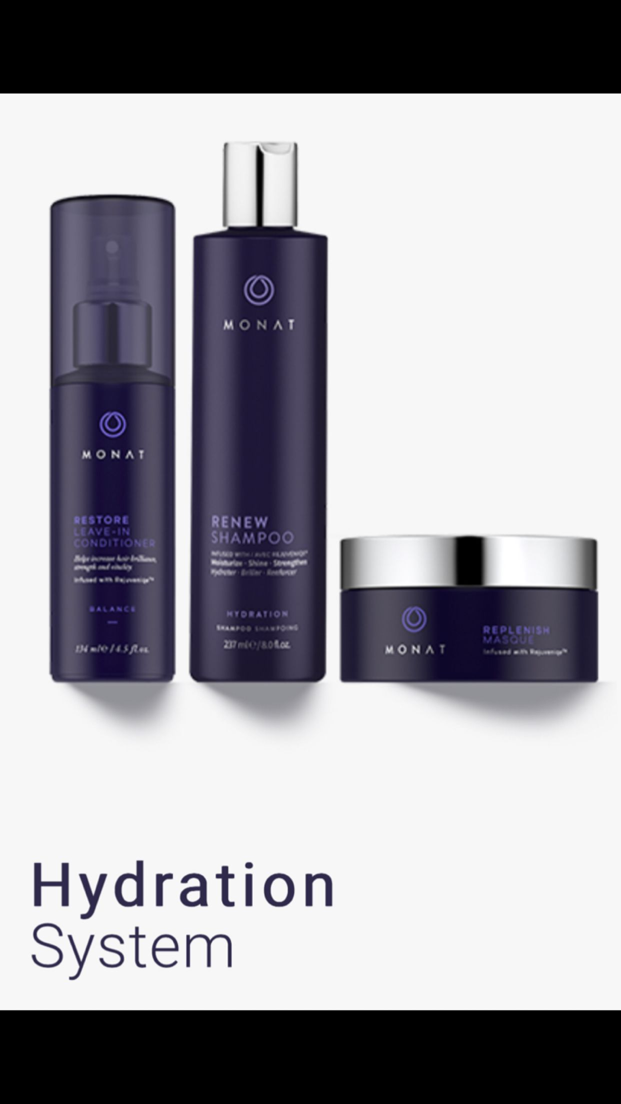 Hydration system Monat hair, Shampoo, conditioner, Leave