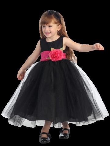24f8a05316 Black Layered Tulle Flower Girl Dress with Custom Sash   Flower BL228