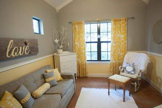 Gray and yellow nursery 366 in modern rustic grey - Grey and yellow living room curtains ...
