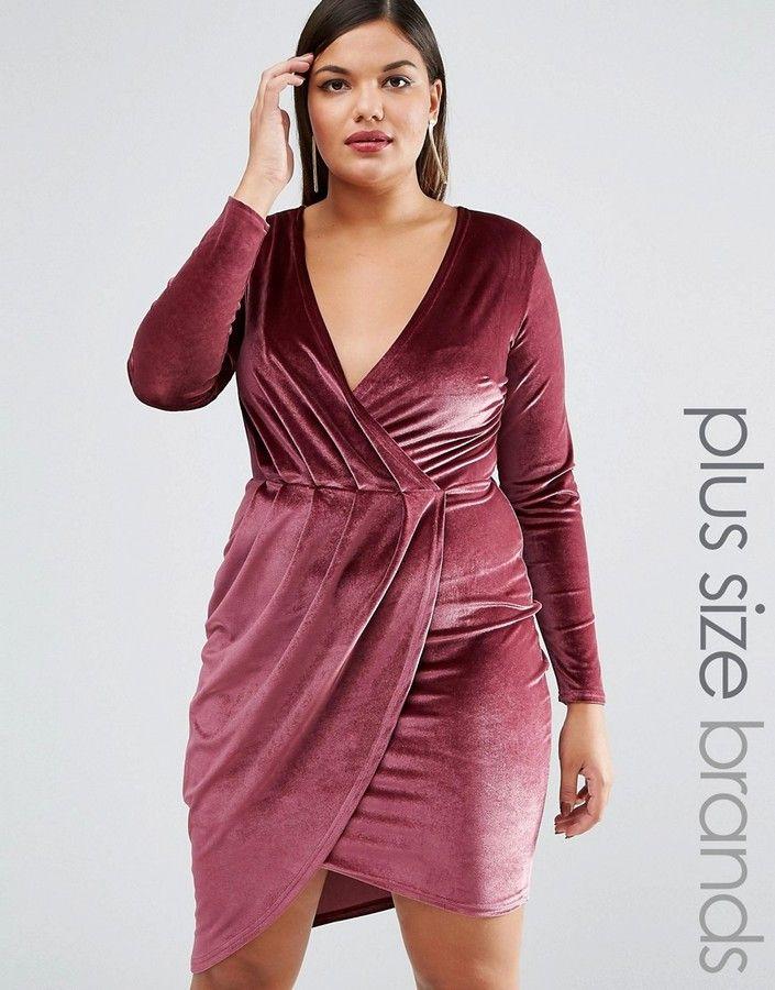 43 So Cute Affordable Club L Plus Wrap Front Velvet Mini Dress