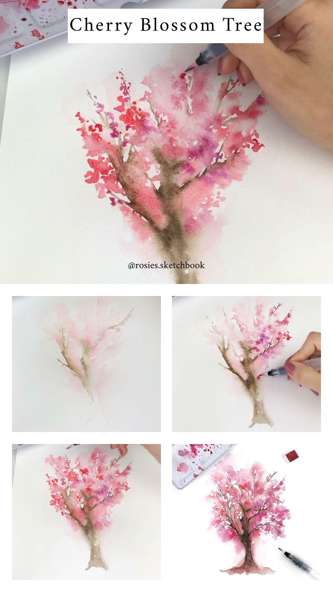 Cherry Blossom Sakura Trees Paper Invitations Announcements Printed Cherry Blossom Tree Tattoo Cherry Blossom Drawing Cherry Blossom Painting