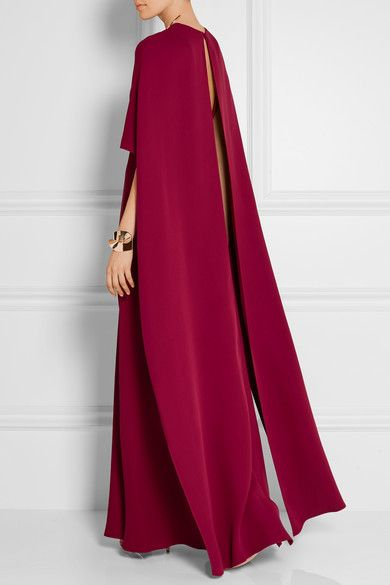 Valentino   Cape-back silk-crepe gown   NET-A-PORTER.COM
