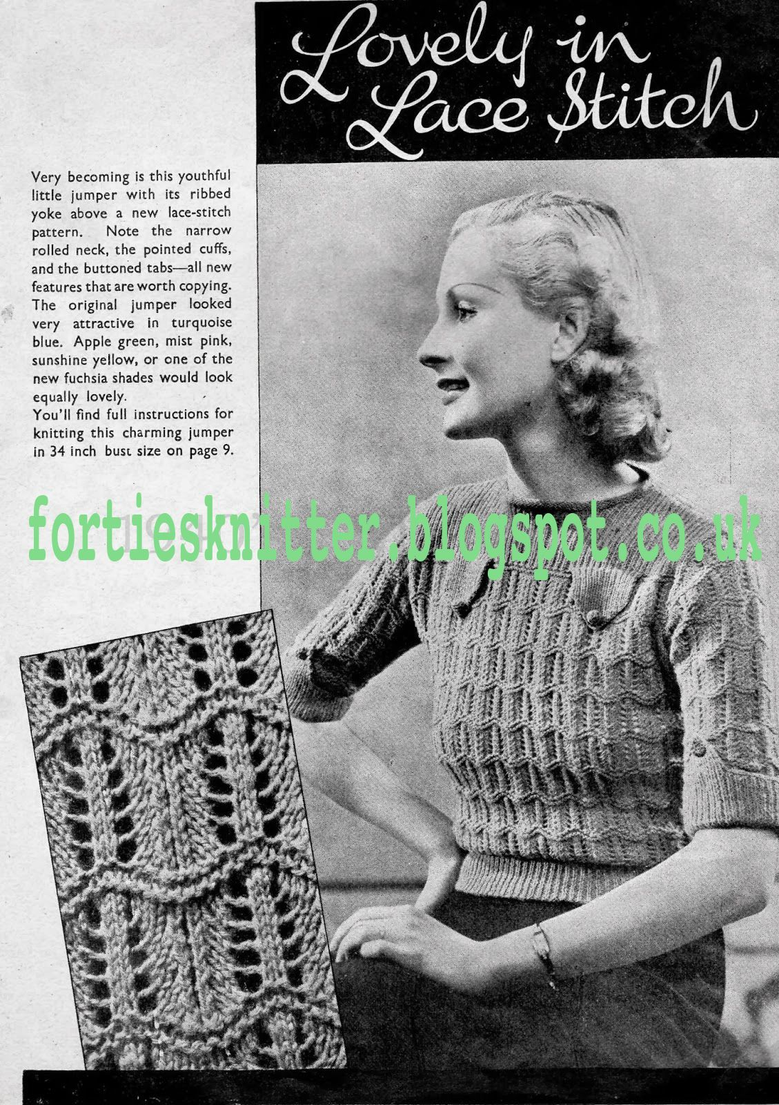 1930\'S Knitting - Lovely In Lace Stitch Jumper free pattern ...