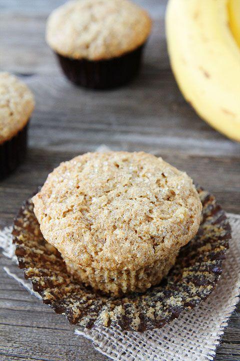 Easy Whole Wheat Banana Muffin Recipe on twopeasandtheirpod.com