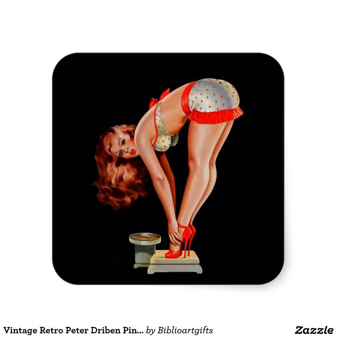 264c1d437eff0b Vintage Retro Peter Driben Pinup Girl on Scale Square Sticker ...
