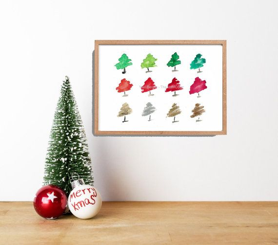 Art Print Whimsical Pine Trees Print Abstract By Thejoyofcolor Christmas Gifts Etsy Gifts Etsy