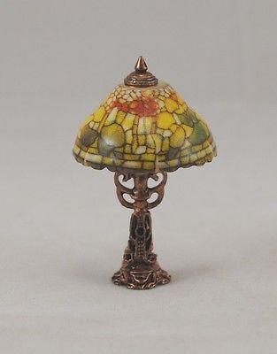 Non Electric Fruit Shade Tiffany Table Lamp 1 882 6 Miniature 12 Scale Reutter Lamps And Miniatures