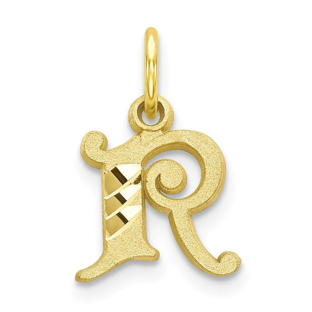 10k Yellow Gold Initial Monogram Name Letter R Pendant Charm Necklace Fine Jewelry Gifts For Women For Her