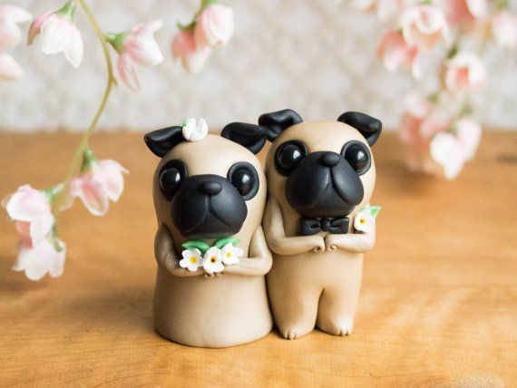 This Keepsake Pug Wedding Cake Topper Features Two Fawn Pugs They
