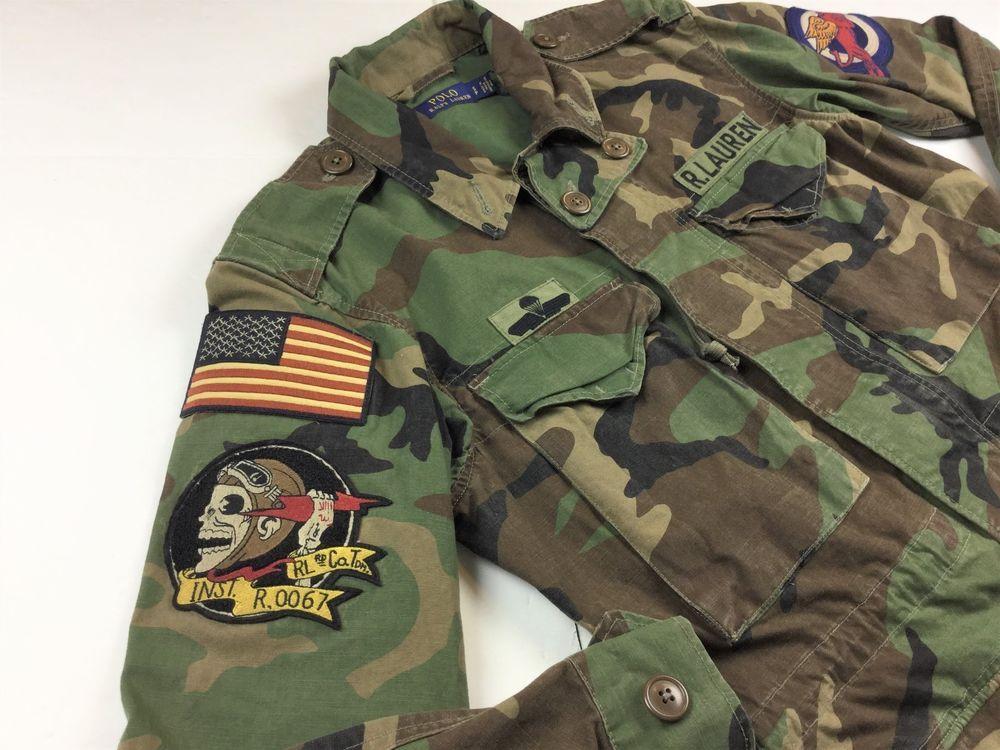 Polo Ralph Lauren Women U.S Flag M-65 Camo Military Patch Army Jacket Coat  S  PoloRalphLauren  Military c7ced5207