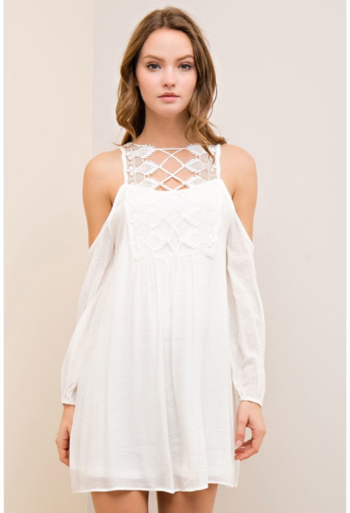 d19d831b7ffb Ivory Crinkle Open Shoulder Dress   Products   Dresses, Dress ...