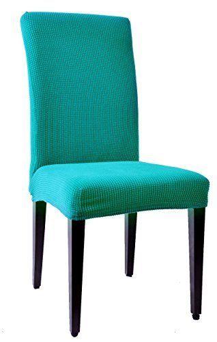 Subrtex Dyed Jacquard Stretch Dining Room Chair Slipcovers 4 Blue Checks