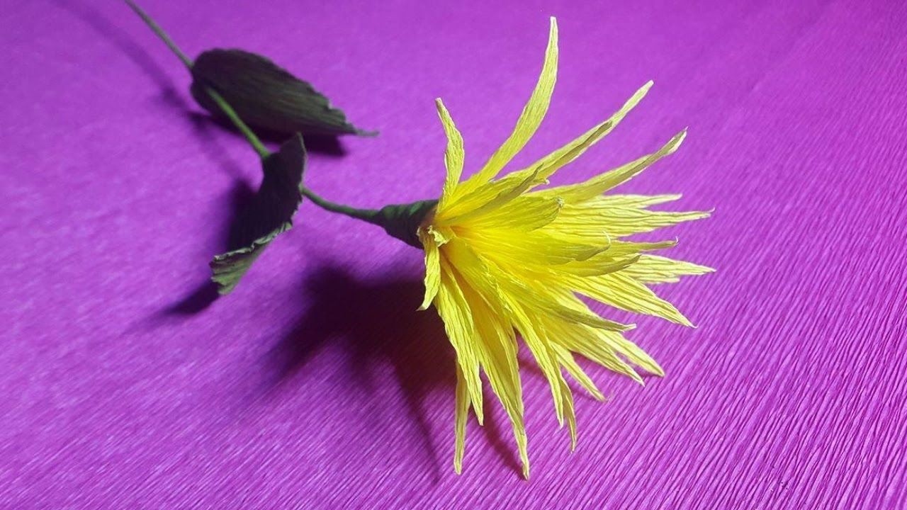 How To Make Yellow Paper Flowers Flower Making Of Crepe Paper