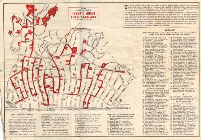 Vintage Map of Beverly Hills Star Homes | Vintage Beverly Hills