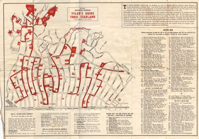 Vintage Map Of Beverly Hills Star Homes Beverly Hills Celebrity