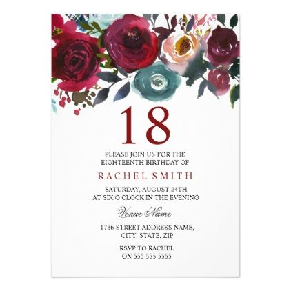 Red Flowers Gold Glitter Ornaments Royal Invitation Debut