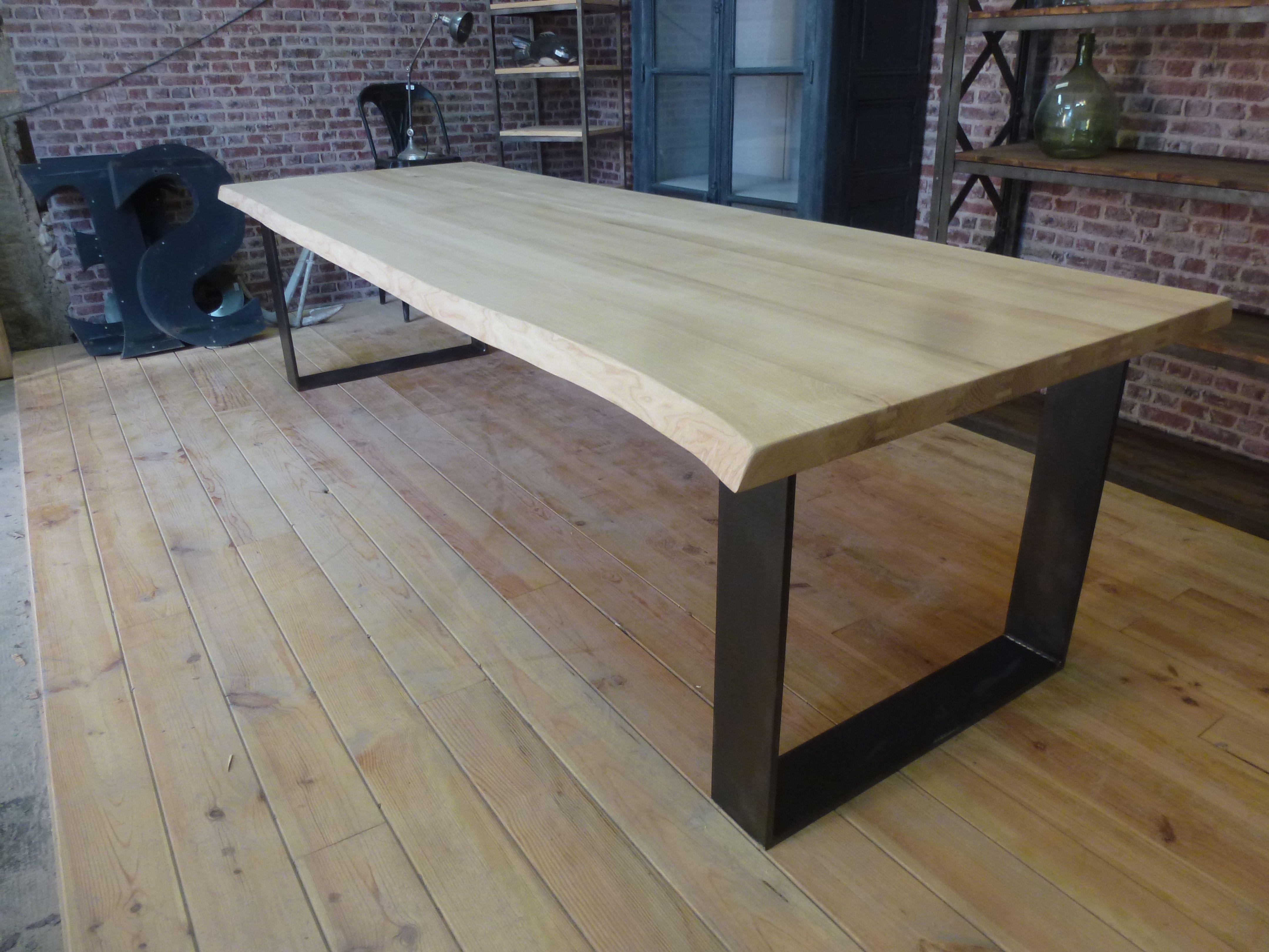 table industrielle plateau fr ne live edge pieds u. Black Bedroom Furniture Sets. Home Design Ideas